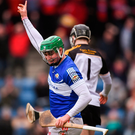 16 February 2019; Joe Stack of Midleton CBS celebrates scoring his side's second goal during the Harty Cup Final against CBC Cork. Photo: Piaras Ó Mídheach/Sportsfile