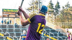 Ian Byrne of Wexford breaks his hurley while taking a free during the Allianz HL Division 1A clash at Innovate Wexford Park yesterday. Photo: Matt Browne/Sportsfile