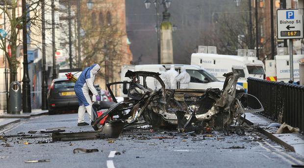 The scene in Derry after last month's car bomb explosion