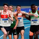 Athletes from left, Cillin Greene of Galway City Harriers AC, Co. Galway, Thomas Barr of Ferrybank AC, Co. Waterford, Andrew Mellon of Crusaders AC, Co. Dublin, and Brandon Arrey of Raheny Shamrock AC, Co. Dublin, competing in the Men's 400m
