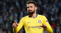 Giroud helped ease the pressure on Sarri with the winner over Malmo in the Europa League on Thursday. Photo: Reuters/Peter Cziborra