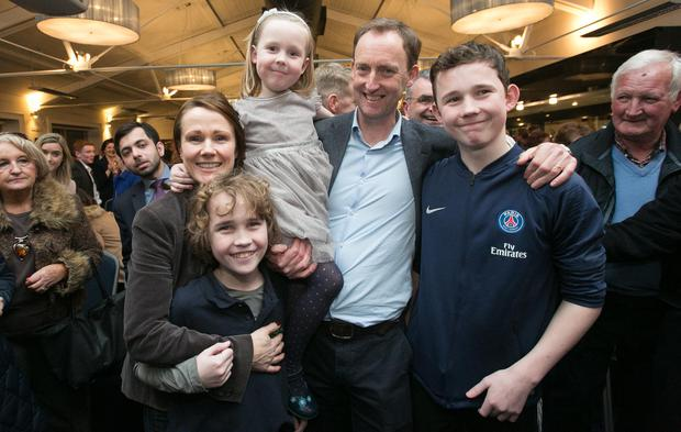 Nominated: Barry Andrews with wife Sinéad and children Conn (11), Kate (6) and Hugh (13). Photo: Gareth Chaney, Collins