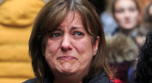 An emotional Berna Fidan in Dublin during last year's Missing Persons Day.