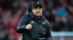 Klopp punches the air in celebration after the Premier League match between Liverpool FC and AFC Bournemouth. Photo by Visionhaus/Getty Images