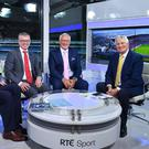Former RTÉ Sunday Game presenter Michael Lyster, right, with panalists, from left, Colm O'Rourke, Joe Brolly and Pat Spillane