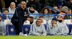 Chelsea manager Maurizio Sarri pictured during their defeat to Manchester United in the FA Cup fifth round. Photo: Action Images via Reuters/John Sibley