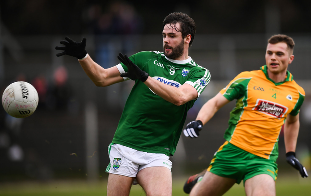 Eyes on the prize: Gaoth Dobhair midfielder Odhrán Mac Niallais gets on the ball during Saturday's defeat to Galway champions Corofin. Photo: Sportsfile
