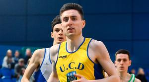 Mark English competing in the 800m event at the National Indoor Championships. Photo: Sportsfile