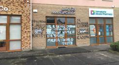 Vandalised: The graffiti was daubed on the Longford Medical Centre overnight on Sunday