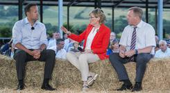 Hitting the hay: Mairead McGuinness interviews Leo Varadkar and Michael Creed at the Farm Friday event, which was streamed live on Facebook. Picture: O'Gorman Photography