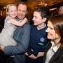 Standing for election: Barry Andrews with wife Sinead and children. Photo: Justin Farrelly