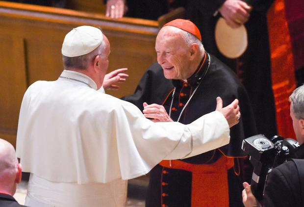 Shamed: Theodore McCarrick meets Pope Francis in 2015, before his downfall. Photo: AFP/Getty Images