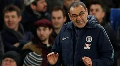 Chelsea manager Maurizio Sarri reacts. Action Images via Reuters/John Sibley