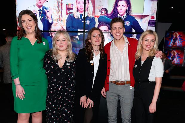 (left to right) Writer Lisa McGee with cast members Nicola Coughlan , Louisa Harland, Dylan Llewellyn and Saoirse-Monica Jackson at the Omniplex Cinema in Londonderry for the Derry Girls premiere ahead of the broadcast of the second series on Channel 4.Photo: Niall Carson/PA Wire