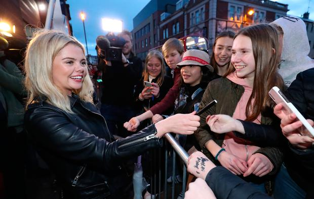Saoirse-Monica Jackson arrives at the Omniplex Cinema in Londonderry for the Derry Girls premiere ahead of the broadcast of the second series on Channel 4. Photo: Niall Carson/PA Wire