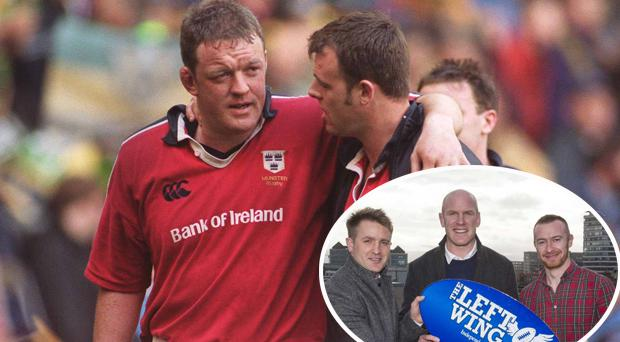 Munster captain Mick Galwey is consoled by sub John O'Neill after Northampton defeat in 200 and (inset) Paul O'Connell with Luke Fitzgerald and Will Slattery