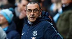 Maurizio Sarri: Chelsea could sack him if he loses against Malmo or in Sunday's Carabao Cup final. Photo: PA