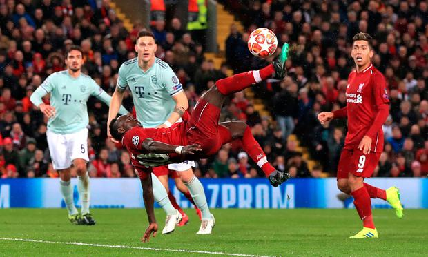 Sadio Mane attempts an over-head kick during last night's first leg against Bayern Munich. Photo: Peter Byrne/PA Wire