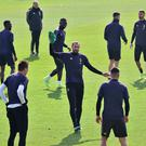 Juventus' Giorgio Chiellini with team mates during training. Photo: REUTERS/Massimo Pinca