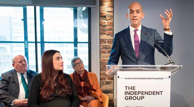 Labour MP Chuka Umunna announced his resignation during a press conference at County Hall in Westminster, London, along with a group of six other former Labour MPs, Luciana Berger, Mike Gapes, Angela Smith, Chris Leslie, Ann Coffey and Gavin Shuker, who will now be known as the Independent Group. Photo: PA
