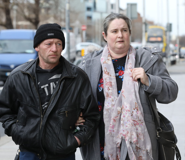 Tragic family: Shane and Carmel Skeffington at the Four Courts. Picture: Collins