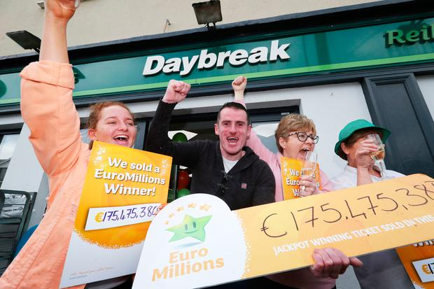 Les Reilly (second left) and the staff of Reilly's Daybreak in Naul, Co Dublin Photo: Niall Carson/PA Wire