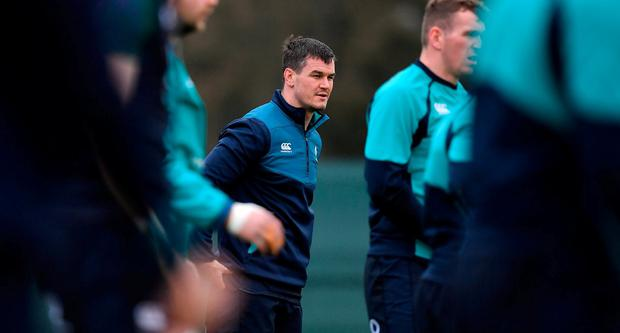 20 February 2019; Jonathan Sexton during Ireland Rugby squad training at Carton House in Maynooth, Kildare. Photo by Brendan Moran/Sportsfile