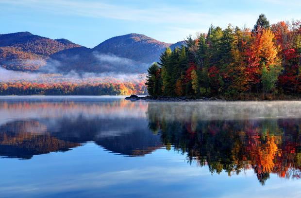 Early morning autumn in the Green Mountain National Forest in Vermont