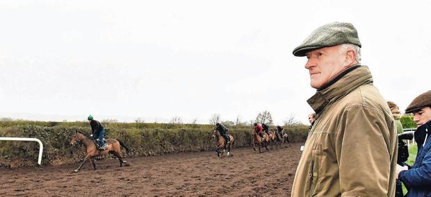 Watchful eye: Trainer Willie Mullins keeps a close eye on proceedings during a stable visit to his yard in Bagenalstown yesterday. Photo: Matt Browne/Sportsfile
