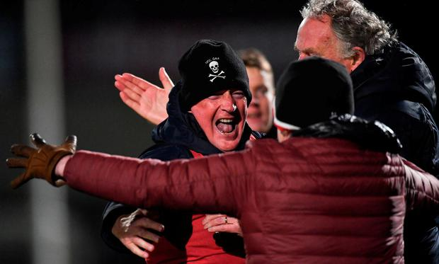 UCC manager Billy Morgan celebrates after the match. Photo: Piaras Ó Mídheach/Sportsfile