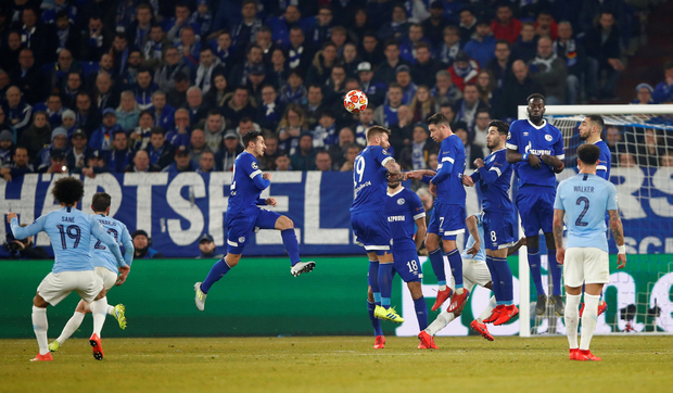 In-Sane: Leroy Sane (left) fires a superb free-kick over the wall and into the Schalke net to score Manchester City's equaliser. Photo: REUTERS/Wolfgang Rattay