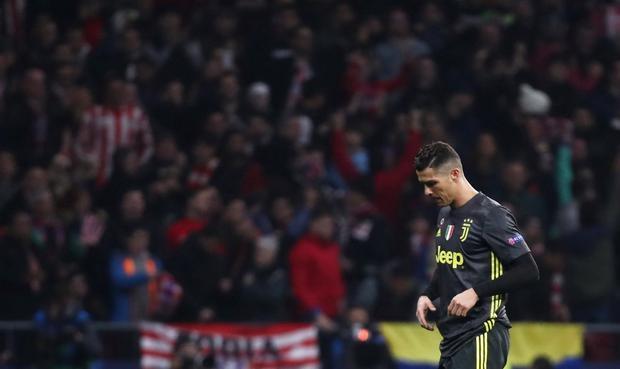 Juventus' Cristiano Ronaldo looks dejected after the match. Photo: REUTERS/Sergio Perez