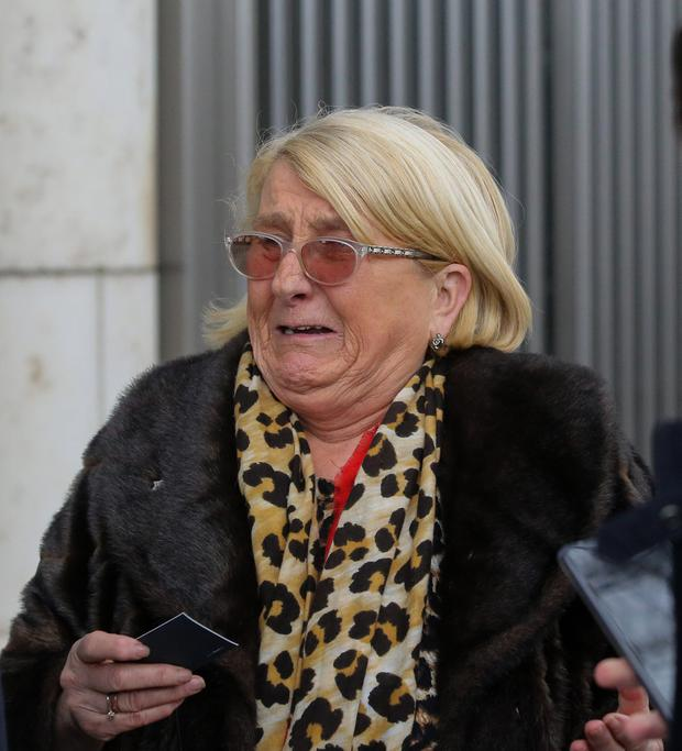 Distraught: Sadie Byrne, the mother of David Byrne, outside the Special Criminal Court at the CCJ in Dublin. Picture: Collins