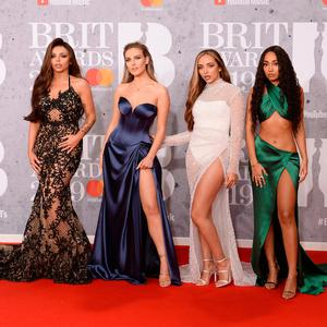 (L-R) Jesy Nelson, Perrie Edwards, Jade Thirlwall and Leigh-Anne Pinnock or the band Little Mix attends The BRIT Awards 2019 held at The O2 Arena on February 20, 2019 in London, England. (Photo by Jeff Spicer/Getty Images)