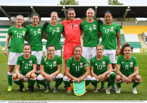 The Republic of Ireland team, back row, from left, Tyler Toland, Niamh Fahey, Diane Caldwell, Amanda Budden, Louise Quinn and Rianna Jarrett, with, front row, Heather Payne, Harriet Scott, Katie McCabe, Denise O'Sullivan and Leanne Kiernan