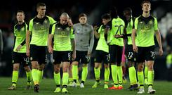 Celtic players at the end of the UEFA Europa League Round of 32 Second Leg match between Valencia v Celtic at Estadio Mestalla (Photo by Richard Heathcote/Getty Images)