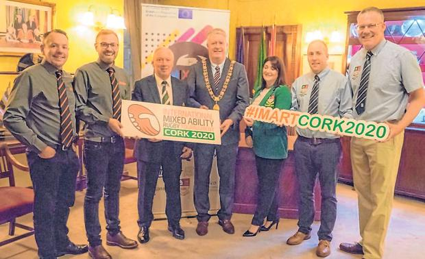 Directors of IMAS Mark Goodwin and Martino Corazze, IRFU Senior Vice President Nicholas Comyn, Lord Mayor Mick Finn, Sunday's Well's Jackie Cashman, Alan Craughwell and Liam Maher at the launch of International Mixed Ability Rugby Tournament Cork 2020
