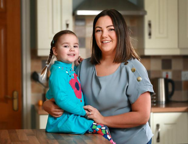 Three year old Sophia Griffin pictured with her mum Catriona. Photo: Frank McGrath