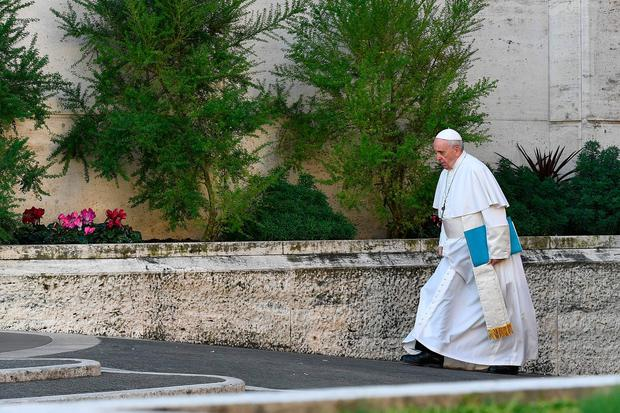 Papal arrival: Pope Francis arrives for the opening of the global child protection summit. Photo: Getty Images