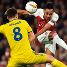 Arsenal striker Pierre-Emerick Aubameyang has his shot blocked by BATE Borisov's Stanislav Dragun at the Emirates last night. Photo: Getty Images