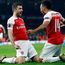 Arsenal's Sokratis Papastathopoulos celebrates scoring his side's third goal with Pierre-Emerick Aubameyang. Photo: Reuters