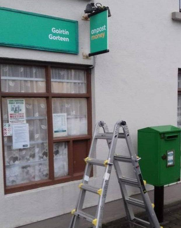 No change of heart: The signage being put up at the post office in Gurteen.