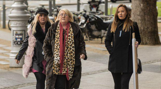 David Byrne's girlfriend Kelly Quinn (right) arriving at court with his mother Sadie Byrne (centre)