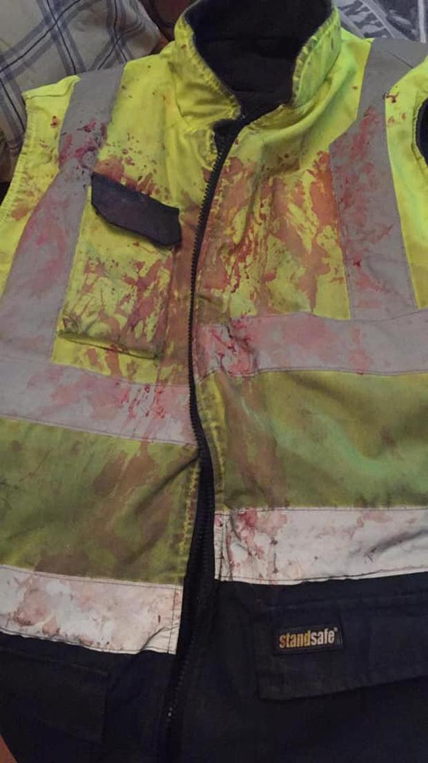 The vest that Neto (30) was wearing during the assault.