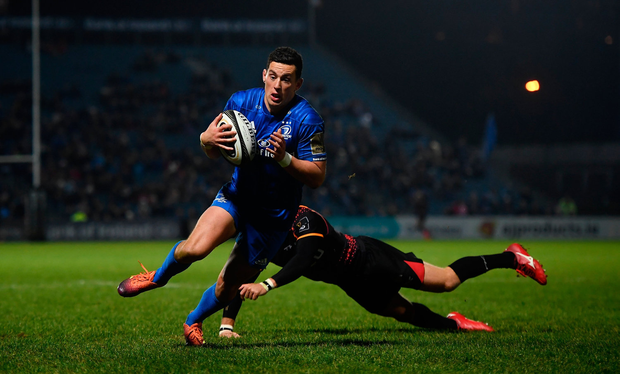 22 February 2019; Noel Reid of Leinster breaks the tackle of Sarel Pretorius of Southern Kings on his way to scoring his side's fourth try during the Guinness PRO14 Round 16 match between Leinster and Southern Kings at the RDS Arena in Dublin. Photo by David Fitzgerald/Sportsfile