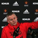 Ole Gunnar Solskjaer speaks during a press conference yesterday. Photo: Getty Images