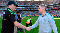 James Horan offers his hand to Jim Gavin after Dublin's defeat of Mayo in the 2013 All-Ireland final. Photo: Sportsfile