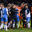 22 February 2019; Players and officials from Finn Harps and Dundalk clash following the SSE Airtricity League Premier Division match between Finn Harps and Dundalk at Finn Park in Ballybofey, Donegal. Photo by Stephen McCarthy/Sportsfile