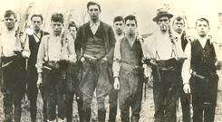 Volunteers: This Irish Military Archives photo shows members of East Cork Flying Column 1920-21: Michael Desmond (killed February 20, 1921), Paddy Higgins (captured at Clonmult; sentenced to death and released at the Truce), James Glavin (killed February 20), Donal Dennehy (killed February 20), Joseph Aherne (Vice-Commandant), Richard Hegarty (killed February 20), Joseph Morrissey (killed February 20), Michael Hollahan (killed February 20), M Moore (executed after arrest at Clonmult, February 20) and Paddy White (USA)