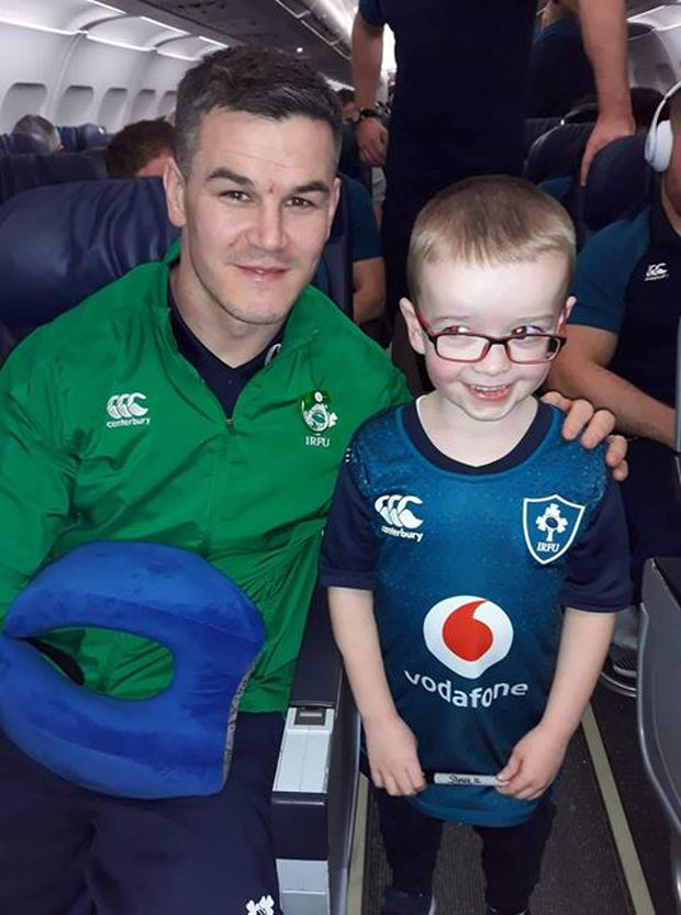Emmet O'Neill from Co Monaghan with his rugby hero Johnny Sexton.